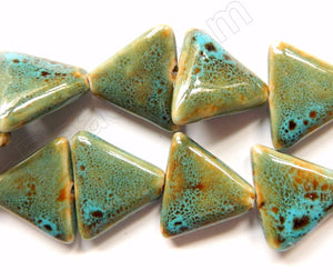 Green Turquoise Look Porcelain  -  Triangle Beads 12""
