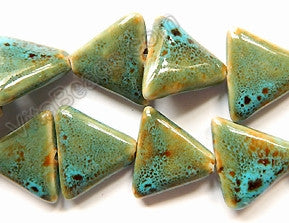 Porcelain Beads - Green Turquoise Look - 22x25x7mm Triangle 12""