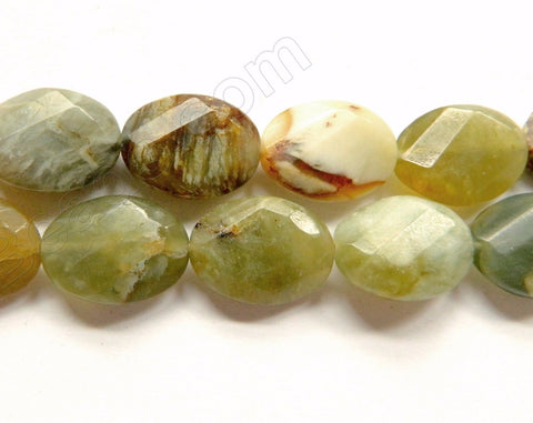 Fire New Jade  -  Twist Faceted Ovals  16""