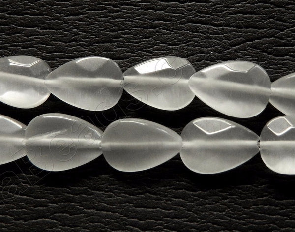 "White Cat's Eye  -  Faceted Flat Drops  16""     10 x 15 mm"