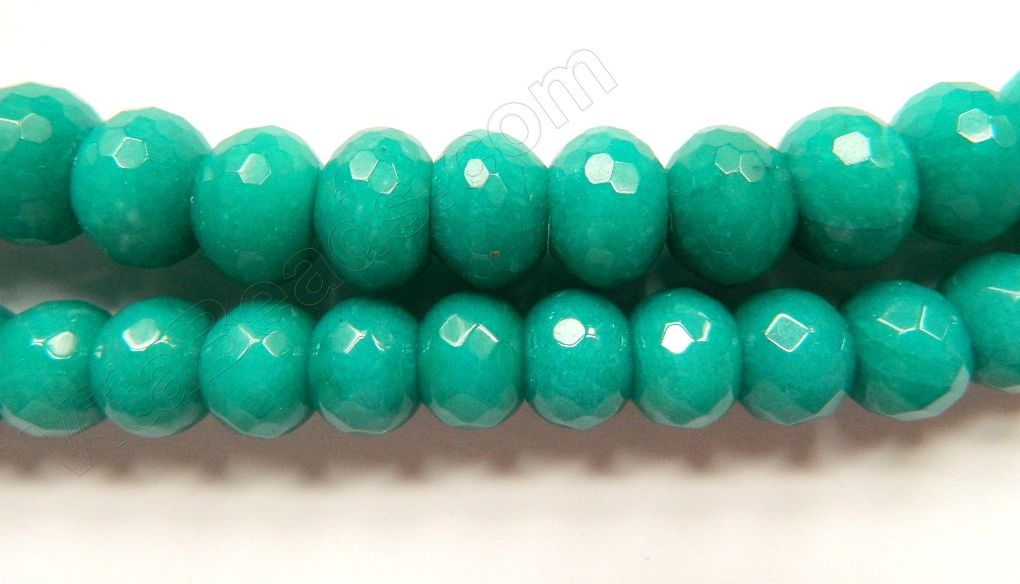 Dark Russian Amazonite Jade  -  Big Faceted Rondels  15""
