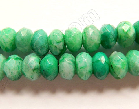 "Green Brazilian Agate  -  Faceted Rondels  16""     8 x 5 mm"