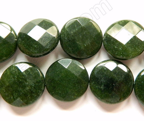 Dark BC Green Jade  -  Faceted Coin  16""