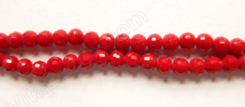 Dark Red Synthetic Coral  -  Faceted Round