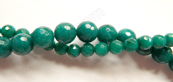 Dark Emerald Jade  -  Faceted Round  16""