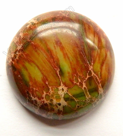Smooth Round Cab No drilled Holes Brown Green Impression Jasper