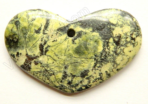 Pendant - Smooth Long Oval Heart Yellow Turquoise - Dark