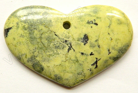 Pendant - Smooth Long Oval Heart - Yellow Turquoise - Light