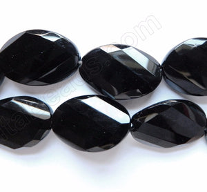 Black Onyx AAA  -  Twist Faceted Ovals  16""