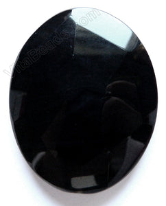 Black Onyx - Irregular Machine Cut Oval Pendant