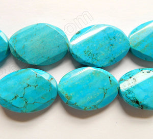 Deep Blue Cracked Chinese Turquoise  -  Twist Faceted Ovals  16""