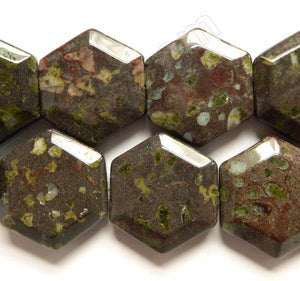 Flower Jasper  -  Faceted Hexagon  16""