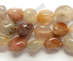 Multi Pink Rutilated Quartz A  - 14-16mm  Smooth Tumbles  16""