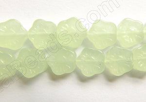 "New Jade (Synthetic)  -  Carved Daisy Flower Strand 9""    10 mm"