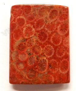 Pendant - Puff Thin Tube - Red Fossil Jasper