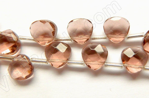 Pink Champange Crystal  -  10mm Faceted Flat Briolette  16""