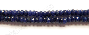 Dark Lapis Jade  -  small Faceted Rondels  15""