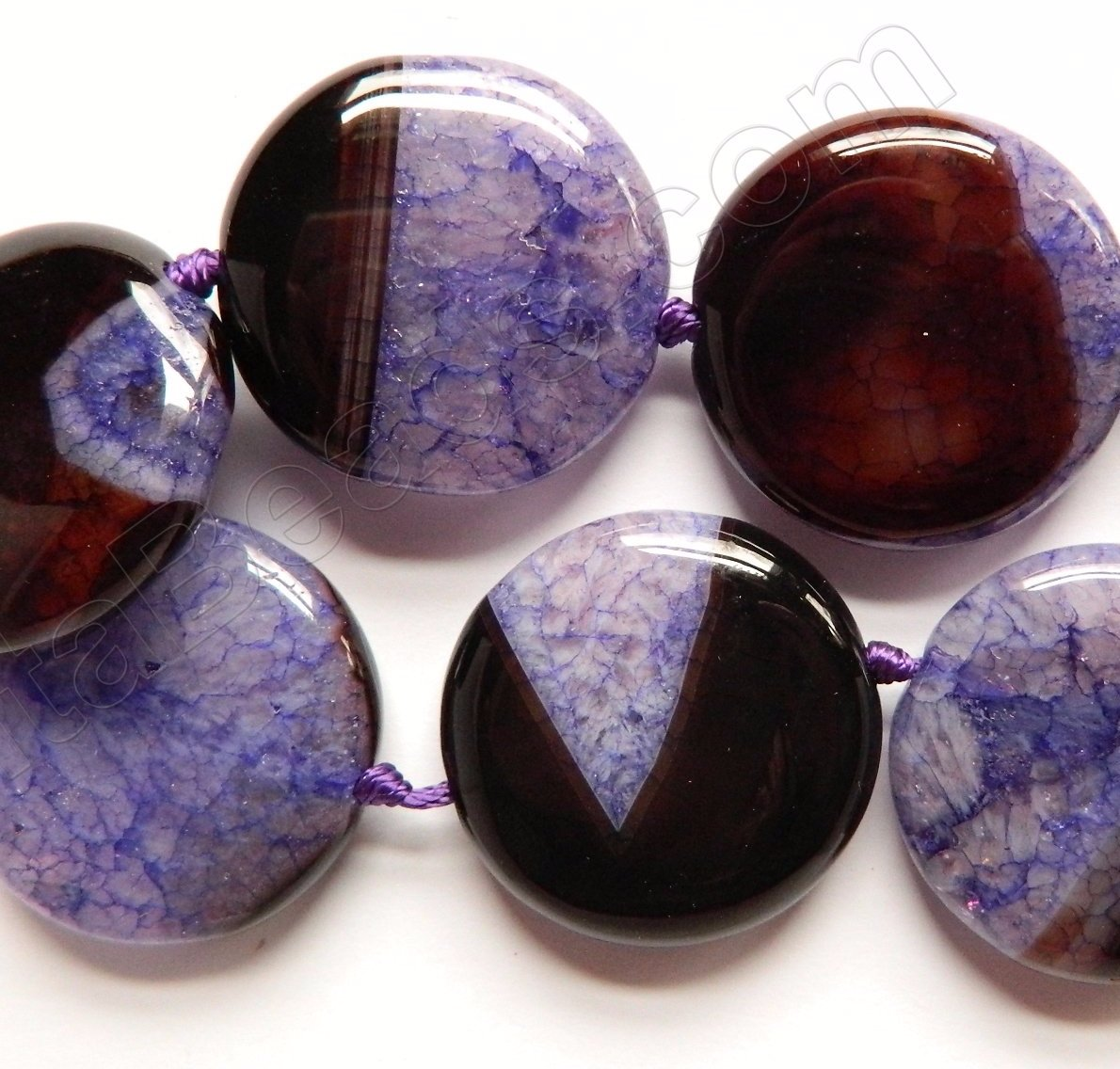Purple Black Fire Agate w Quartz  -  Big Puff Coins  16""