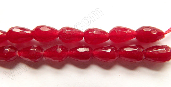 Dark Cherry Jade  -  8x12mm Faceted Drops  16""