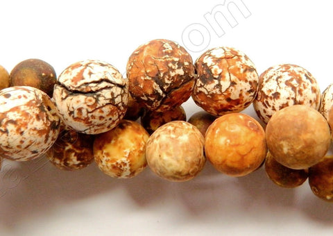 Matte Engrain Fire Agate  -  Smooth Round Beads  16""