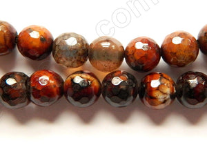 Dark Black Red Fire Agate  -  Faceted Round Beads  15""