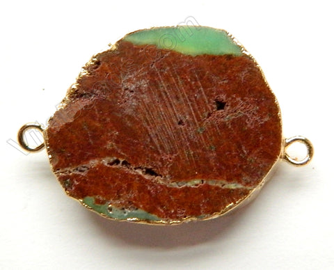 Chrysoprase Slab Connector w/ Gold Trim and Bail - 12