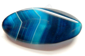Blue Sardonix Agate - Twisted Long Oval Pendant