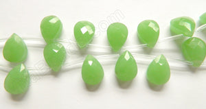 Green Chalcedony Quartz  -  13x18mm Faceted Flat Briolette  16""
