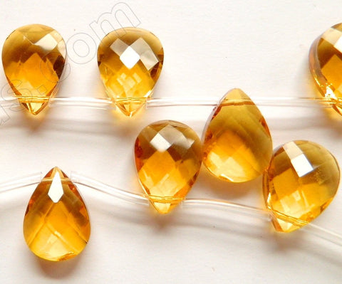 Dark Citrine Crystal Quartz  -  13x18mm Faceted Flat Briolette  16""