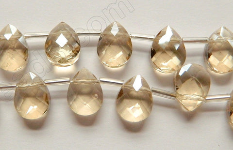 Light Champ. Crystal Quartz  -  9x12mm Faceted Flat Briolette 16""