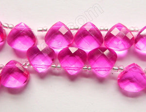 Fuchsia Crystal Quartz  -  13mm Faceted Flat Briolette 16""