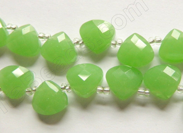 Green Chalcedony Quartz  -  13mm Faceted Flat Briolette 16""