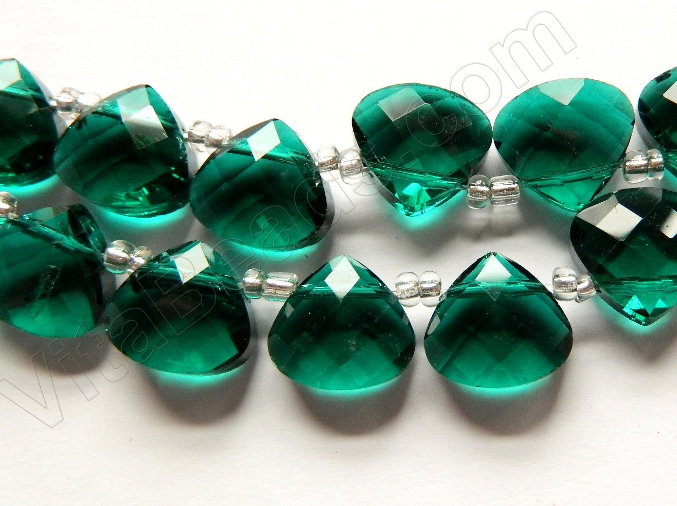 Dark Emerald Crystal Quartz  -  13mm Faceted Flat Briolette 16""