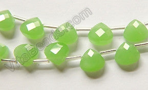 Green Chalcedony Quartz  -  Faceted Flat Briolette  16""