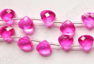 Fuchsia Crystal Quartz  -  10mm Faceted Flat Briolette  16""