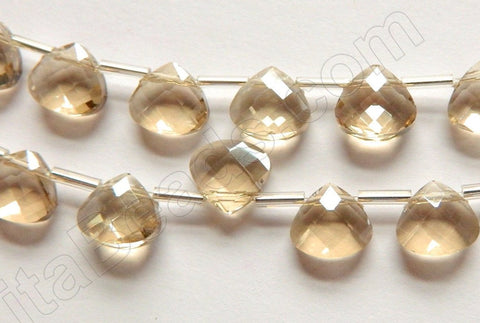 Light Yellow Champ. Crystal Quartz  -  10mm Faceted Flat Briolette  16""