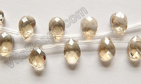 Light Champ. Crystal Quartz  -  7x10mm Faceted Flat Briolette 16""