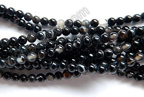 "Black Sardonix Agate  -  Small Smooth Beads   16""     3mm"