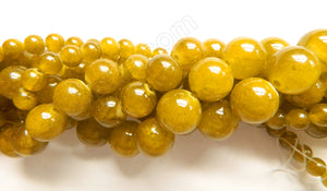 Olive Brown Semi Transparent Jade  -  Smooth Round Beads  16""