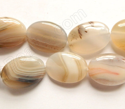 Natural Agate w/ Black AAA  -  Puff Ovals  16""