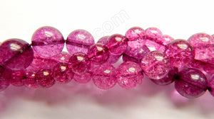 Fuchsia Explosion Crystal Quartz  -  Smooth Round  16""