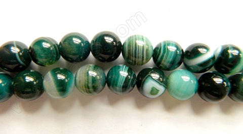 Dark Emerald Sardonix Agate  -  Smooth Round Beads  16""