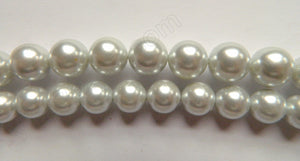 Light Grey Shell Pearl  -  Smooth Round Beads 16""