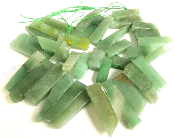 "Green Aventurine  -  Graduated Flat Long Slabs Top Drill  16""     10 x 30 - 10 x 40 mm"