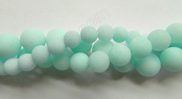 Frosted Amazonite Jade  -  Smooth Round  16""