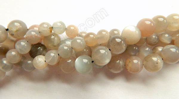 Grey Pink Moonstone Mixed A  -  Smooth Round Beads  16""