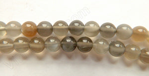 Dark Grey Moonstone Mixed AA  -  Smooth Round Beads  16""