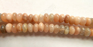 "Pink Moonstone  -  Smooth Rondells  16""     8 mm"