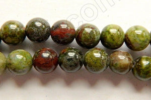 Africa Prase Jasper -  Smooth Round Beads   16""