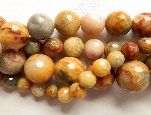 Crazy Lace Agate A  -  Faceted Round Beads 16""